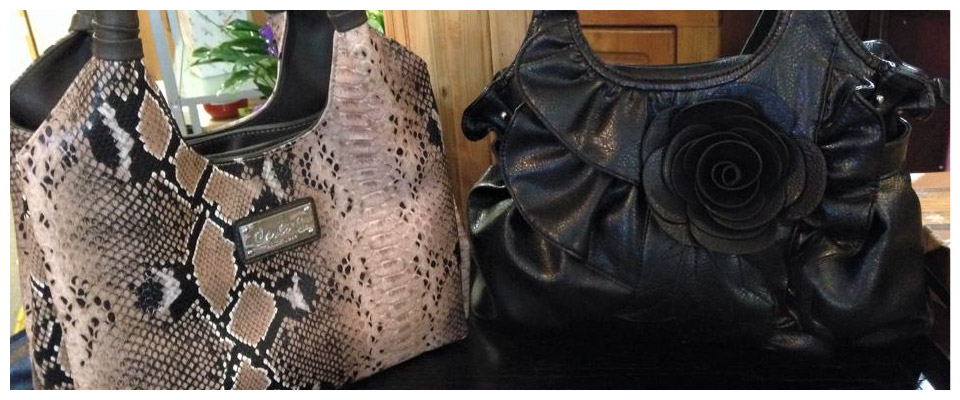 animal print and blag handbags